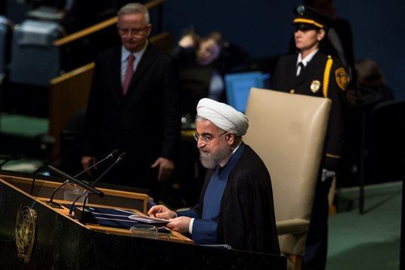 "נשיא איראן חסן רוחאני נואם באו""ם"