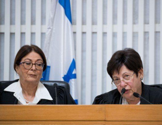 נשיאת בית המשפט העליון אסתר חיות והשופטת לשעבר מרים נאור