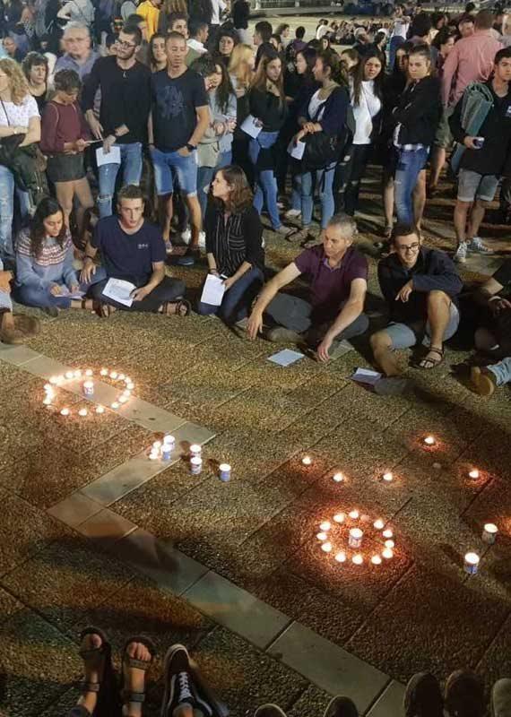 טקס זיכרון בכיכר רבין לנספי האסון בנחל צפית