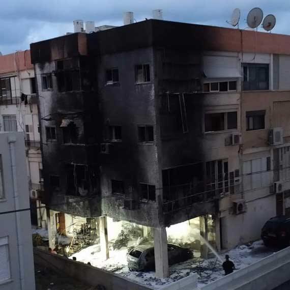 הבניין בנהריה שעלה באש
