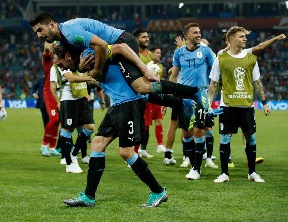נבחרת אורוגואי לאחר הניצחון על נבחרת פורטוגל