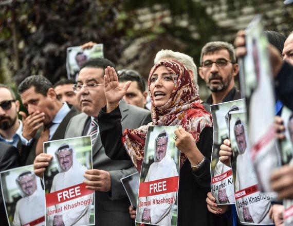 הפגנה לשיחרור העיתונאי הסעודי
