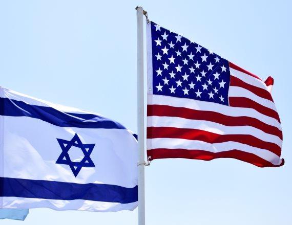 """דגל ישראל ודגל ארה""""ב"""