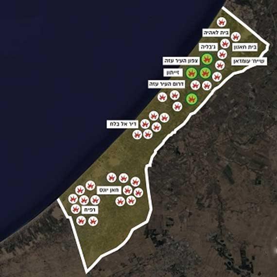 """מפת האזורים שהותקפו על ידי צה""""ל במהלך הלילה"""