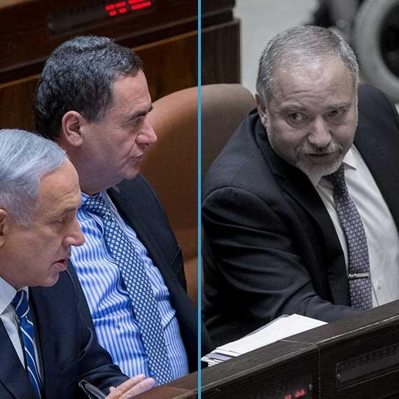 """כבר לא חולקים שולחן. ליברמן, כ""""ץ - וגם ראש הממשלה נתניהו"""
