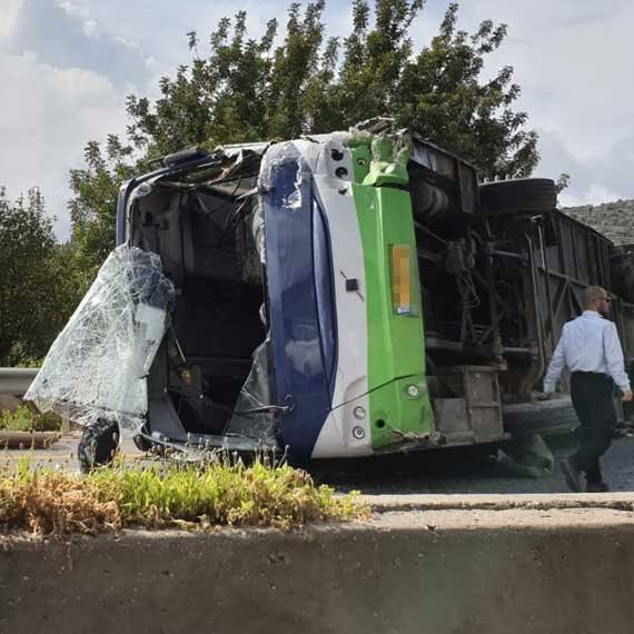 תאונת אוטובוס קשה ליד בית חורון