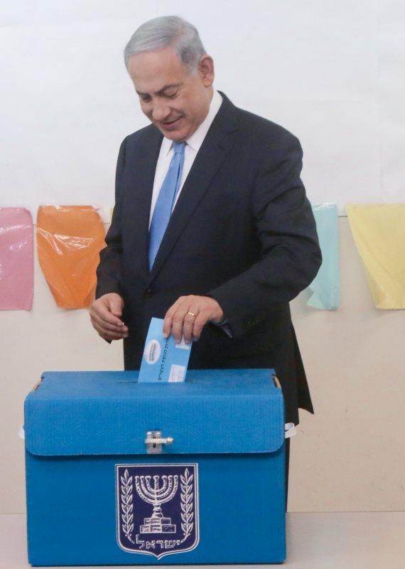 ראש הממשלה בנימין נתניהו בקלפי