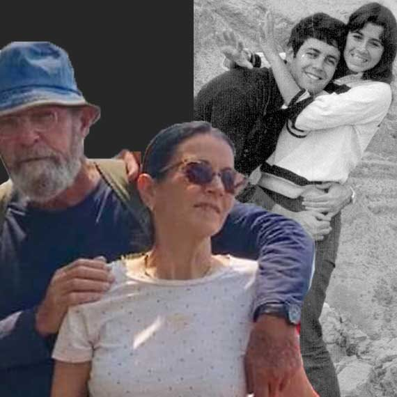 """מימין: איריס עדן ובעלה המנוח, ישיש עדן ז""""ל; משמאל: איריס ובן זוגה משה פדר, שנהרג אתמול"""
