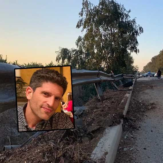 """זירת התאונה; בתמונה הקטנה: תומר ויינשטיין ז""""ל"""