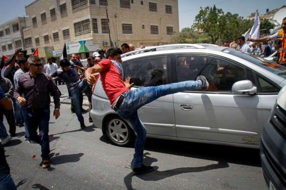 צילום ארכיון - הפגנת פלסטינים בשומרון