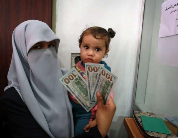 כסף קטארי בעזה (ארכיון)