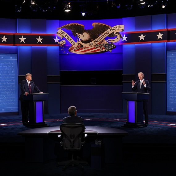 """נשיא ארה""""ב דונלד טראמפ בעימות מול ג'ו ביידן"""