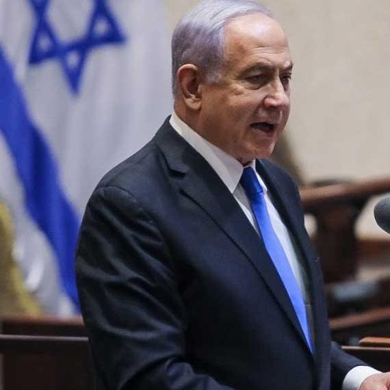 ראש הממשלה היוצא בנימין נתניהו בעת נאומו במליאה